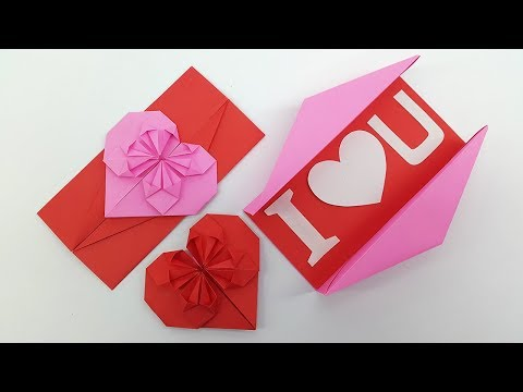 Origami: Heart Envelope & Box - DIY Envelope Paper heart card Gift for Boyfriend/Girlfriend