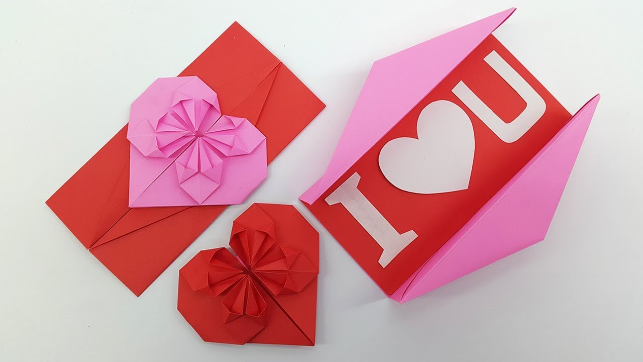 Origami Heart Envelope Box Diy Envelope Paper Heart Card Gift For Boyfriendgirlfriend