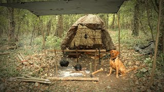 3 Day Camp in the Woods - Bushcraft Shelter, Dog, Wool Blanket (STORM FORCE WINDS)