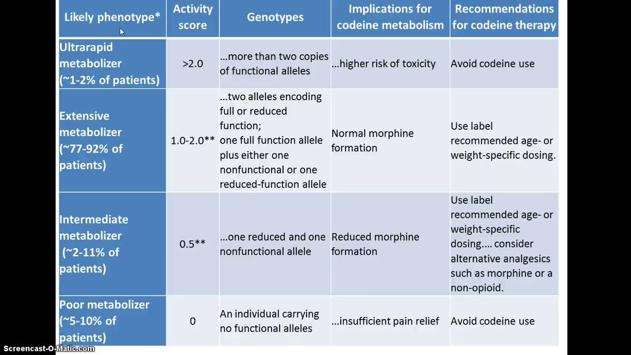 pharmacogenetics of codeine metabolism youtube
