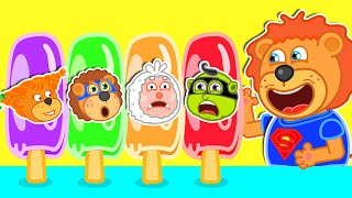 Makes Colorful Ice Creams with Superheroes | Lion Family | Cartoon for Kids