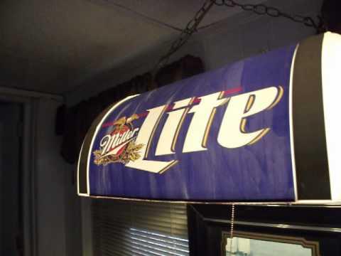 Vintage Miller Lite Pool Table Light Beer Sign