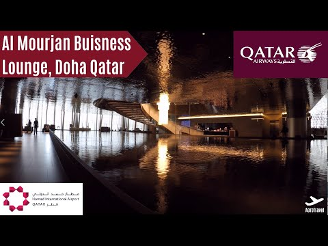 AWESOME AL MOURJAN BUSINESS CLASS LOUNGE DOHA | QATAR AIRWAYS BUSINESS CLASS | LOUNGE REVIEW 4K