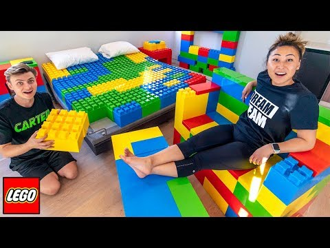 I TURNED HIS ROOM INTO LEGOS!!