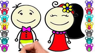 How To Drawing Little Bride and Groom for Children | Baby Easy Learn step By Step Kids Coloring Page