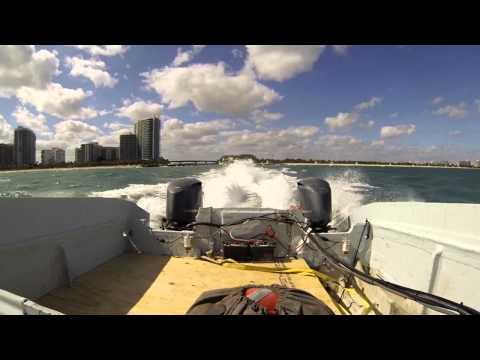 Prowler 40 Rear view ,20 knots NE wind, 3-5 FT swell.