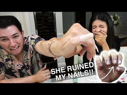 I Tried Wearing Acrylic Nails for 24 Hours ft. Laura Lee... IT WAS BAD thumbnail