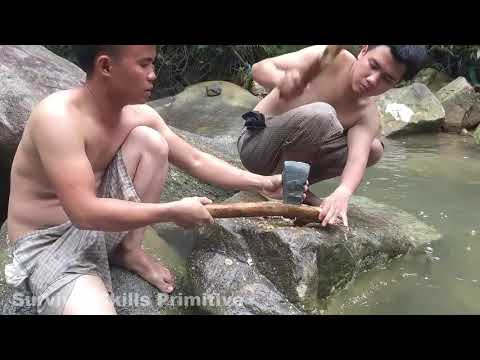 Primitive Technology  Survival Skills Stone Ax, Coconut Cutting