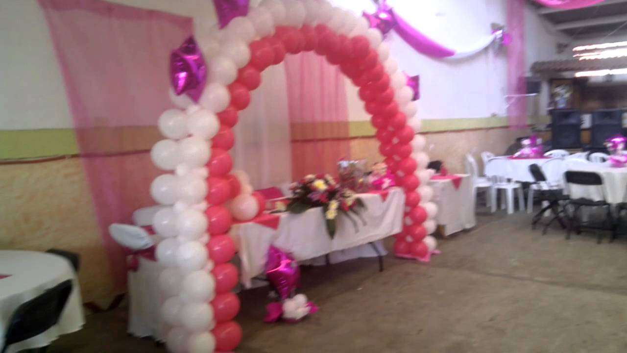 Arco de globos xv youtube - Bombas para decorar ...