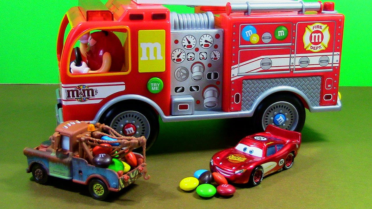 M&M's Fire Truck Dispenser with Lightning McQueen and ...