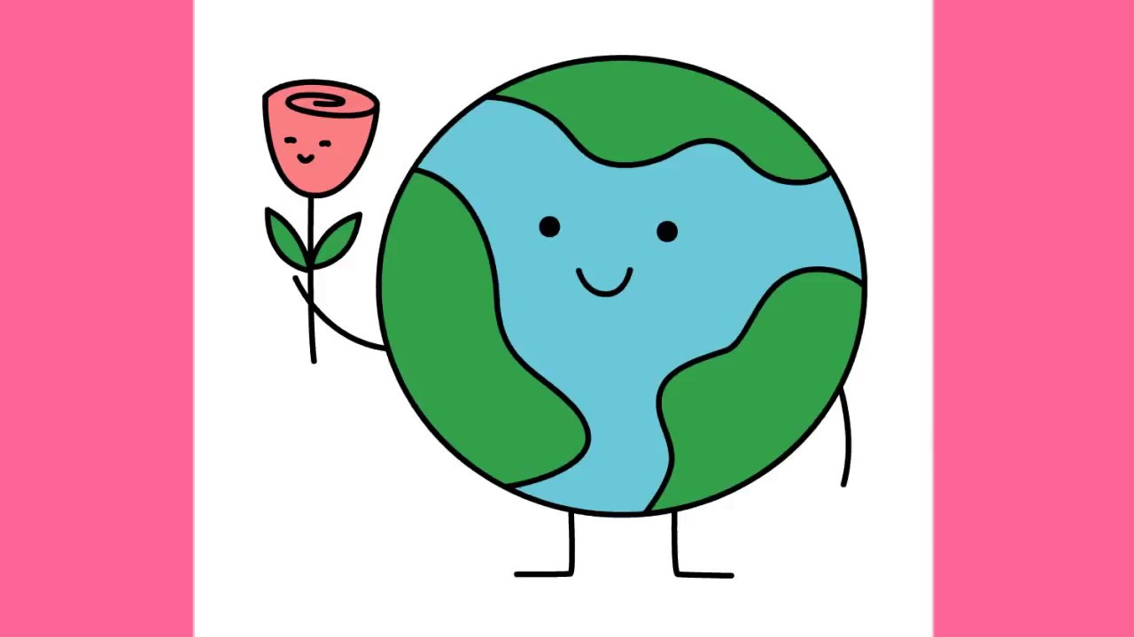 How to draw Earth with flower for Earth Day - YouTube