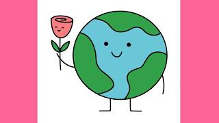 How to draw Earth with flower for Earth Day