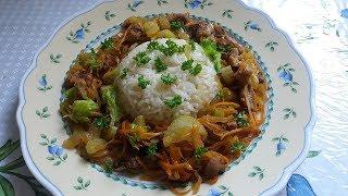 Рис с кабачком на гарнир  с мясом  и овощами