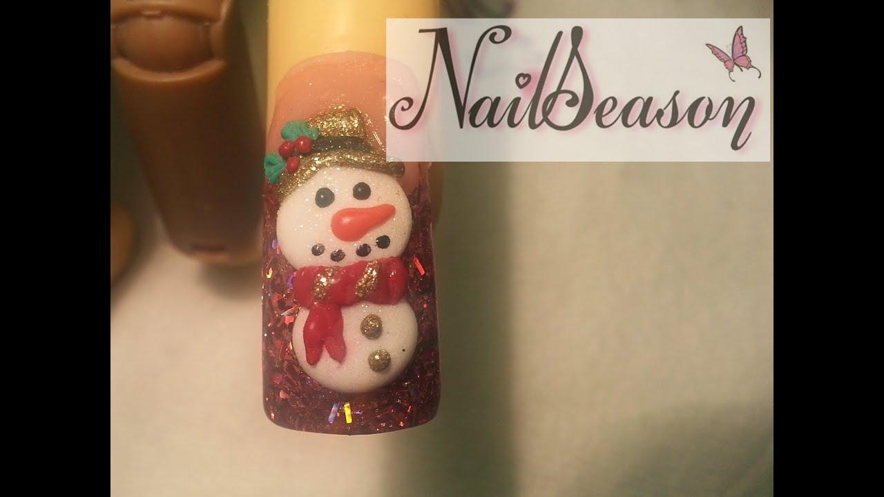 uñas para navidad / muñecos de nieve / uñas navideñas paso a paso 2015