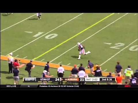 Auburn WR breaks Utah State DB's ankles and scores-HD