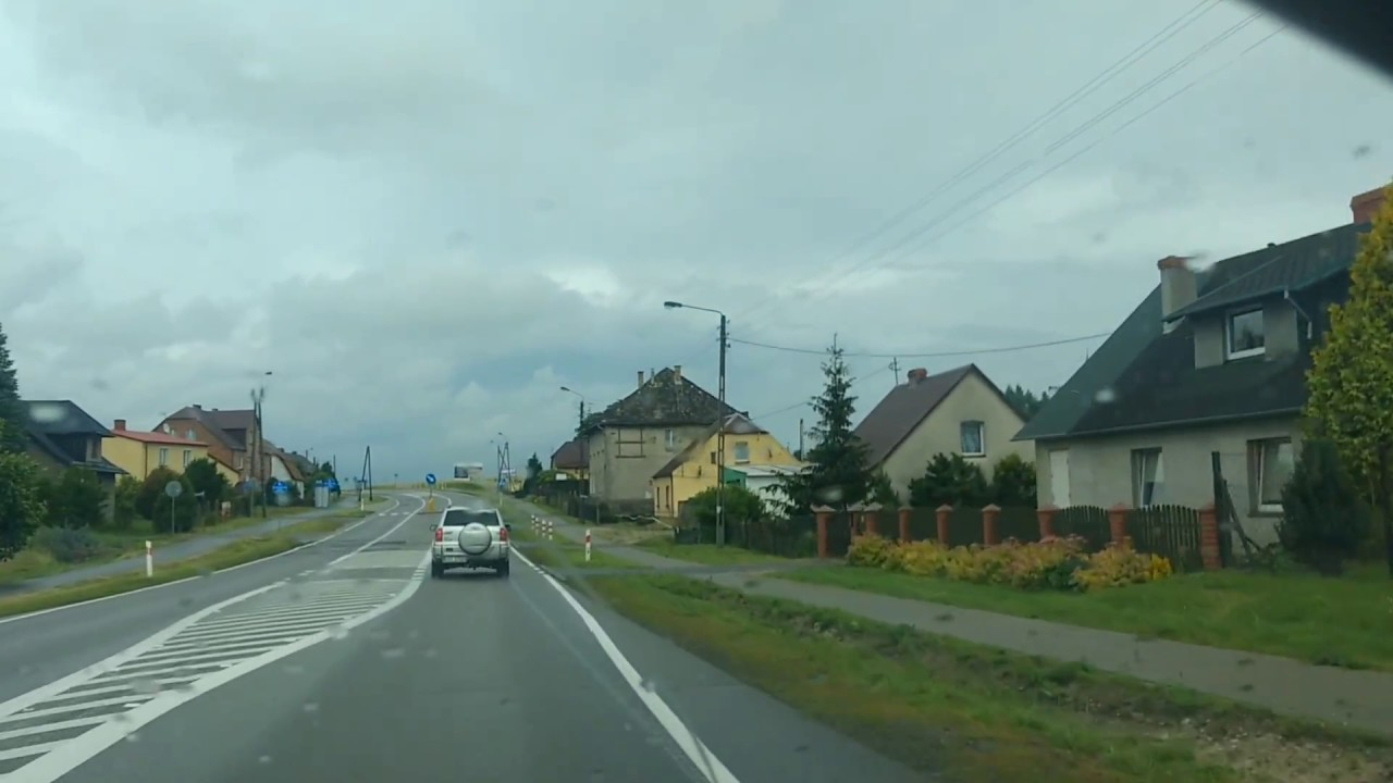 Driving through Poland - countryside - villages in Pomerania (Trunk road 22)