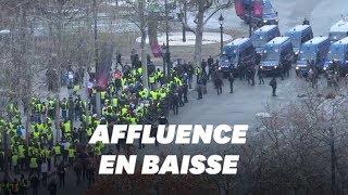 À Paris, l'acte V des gilets jaunes marqué par une mobilisation en baisse