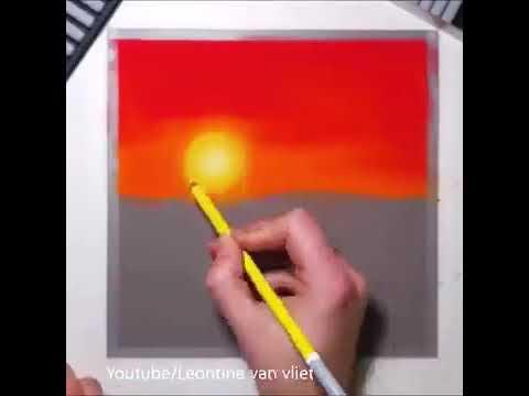 رسم منظر غروب رائع بالالوان الطبيعية Youtube