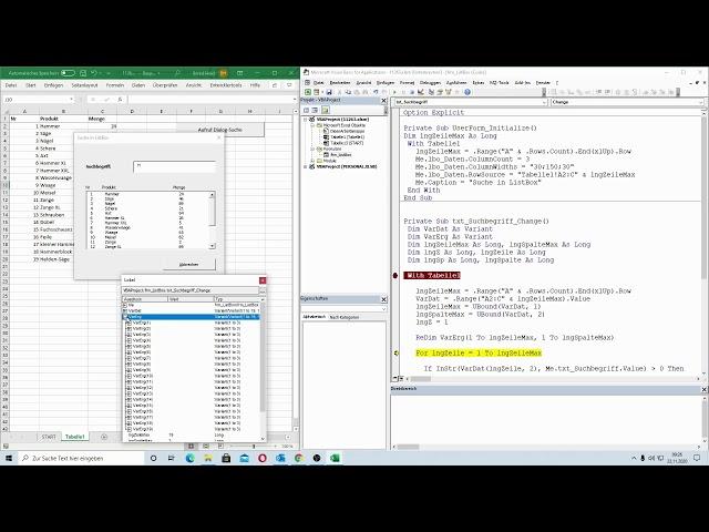 210: Excel-VBA: Recht elegant: Suche in einer ListBox mit Hilfe von Arrays durchführen
