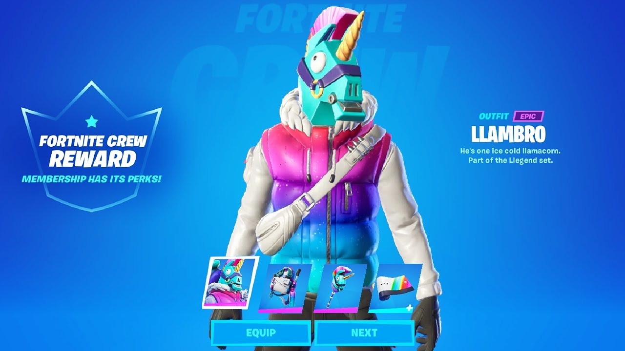 LlamBro Trailer & Fortnite March Crew REWARDS: Skin, Back Bling, Pick Pickaxe, Wrap!..