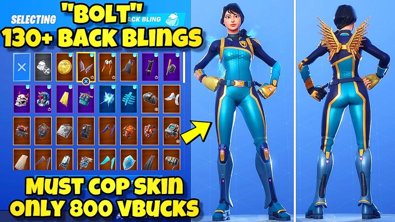 New Bolt Skin Showcased With 130 Back Blings Fortnite Battle Royale Best Bolt Skin Combos Youtube