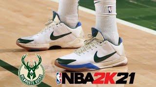 NBA 2K21 CG Khris Middleton Shoe Creator - Nike Kobe V Protro White Green PE