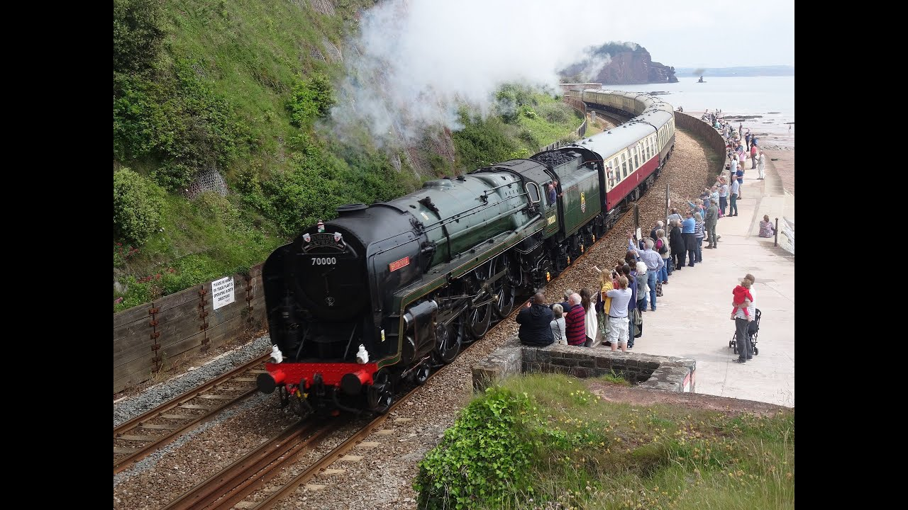British Railways 70000 'Britannia' works the first Torbay Express through  Devon! 14/06/15
