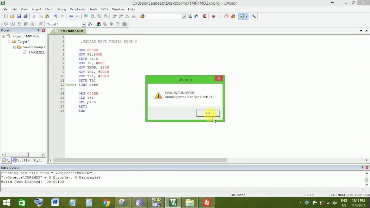 C program to generate sine wave using 8051