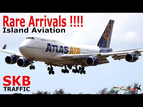 (7) Super Rare Arrivals !!! Cubana An-148, Atlas Air 747-400, Peter Nygard 727....@ St. Kitts