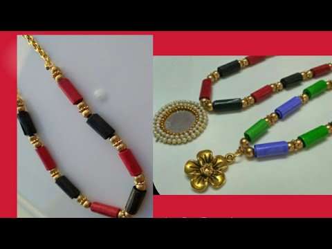 How to make an A4 paper necklace /DIY paper craft jewelery||DIY quilling paper jewellery