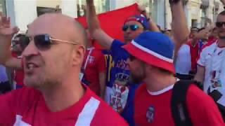 """""""Крым это Россия! Косово - Сербия!"""" Сербские фанаты на Красной площади"""