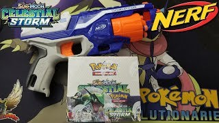NERF WARS!!! Opening Pokemon Celestial Storm Booster Boxes!