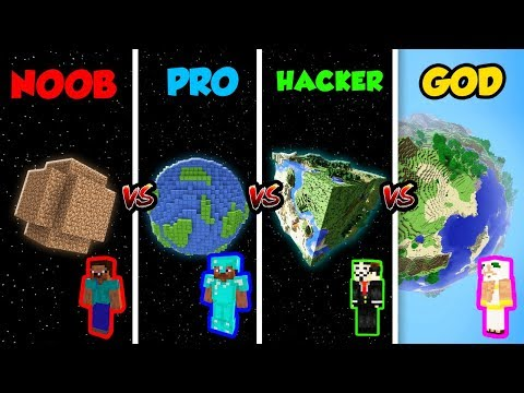 Minecraft NOOB Vs. PRO Vs. HACKER Vs. GOD: PLANET In Minecraft! (Animation)
