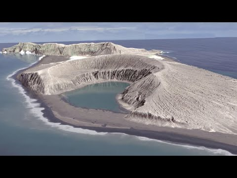 New island being formed from ash in Tonga - timelapse video