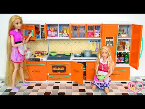 Barbie doll New Kitchen Opening - Barbie Toy Dapur boneka Barbie Boneca Cozinha