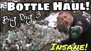 """Bottle Dump Haul! """"Big Dig 3"""" SICK Relics Bottles Metal Detecting DEEP Privy Pit! OMG! WTF"""