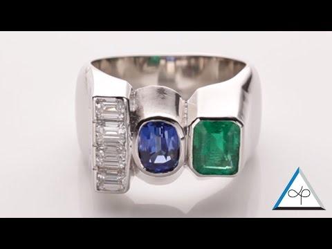 Trilogy Ring Diamond, Emerald, Blue Sapphire In Platinum   Prakash Gems