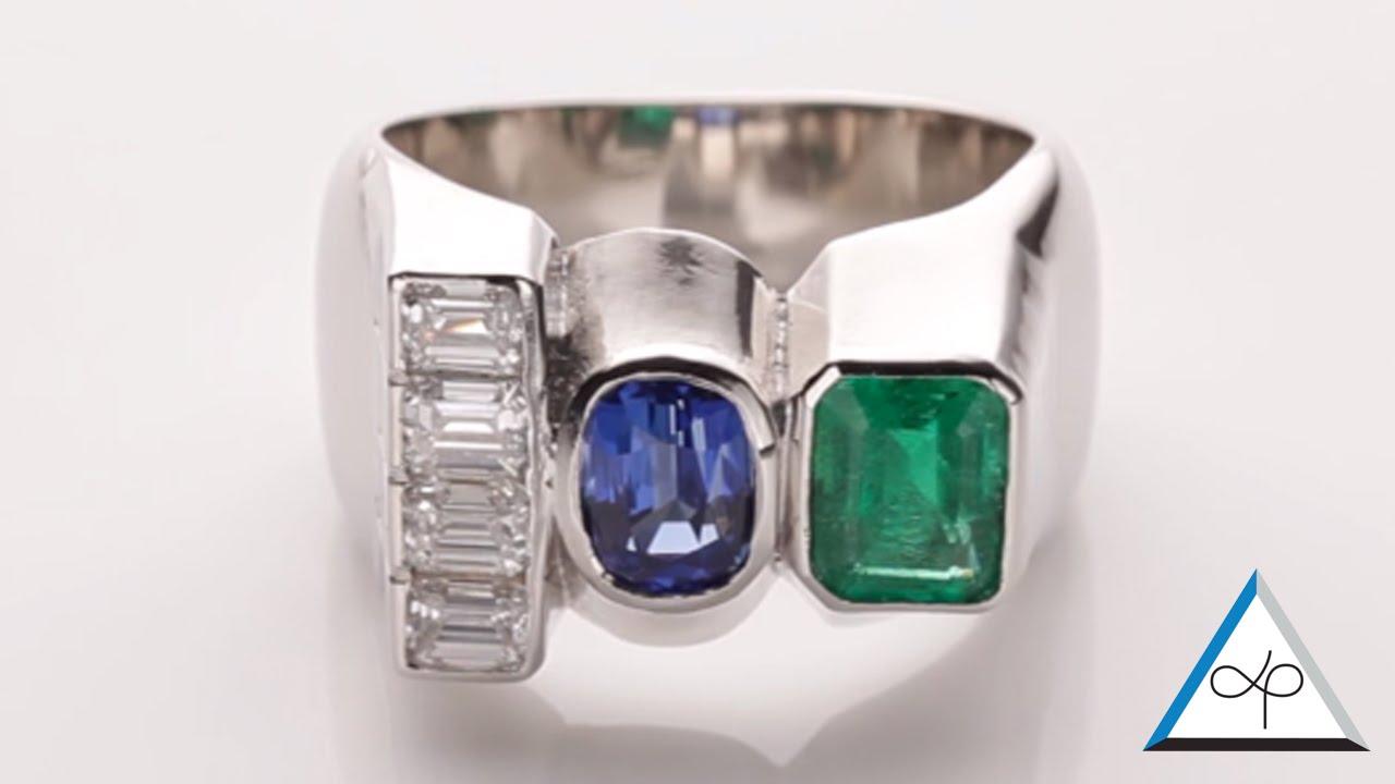Trilogy Ring Diamond Emerald Blue Sapphire In Platinum