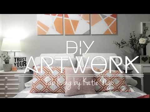 2017 DIY Fast & Easy Modern ARTWORK Canvas Orange Silver Painting | Dianella Project