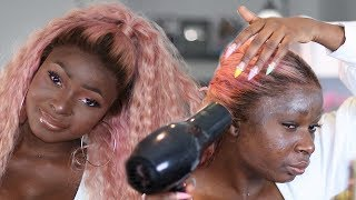 LET'S MAKE A PINK LACE FRONTAL WIG FROM START TO FINISHED | Shalom Blac