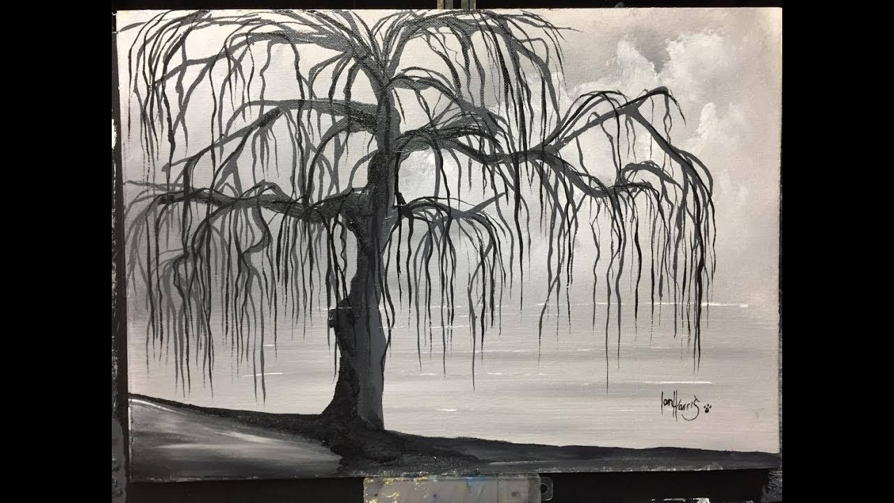 #110. Black and white willow tree (ACRYLIC) - YouTube