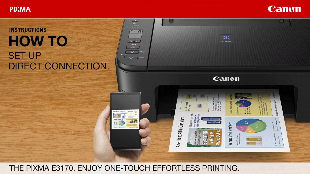 Pixma E3170 One Touch Direct Connection To Mobile Devices Youtube Canon Inkjet Printer G3010 Print Scan Copy Wifi