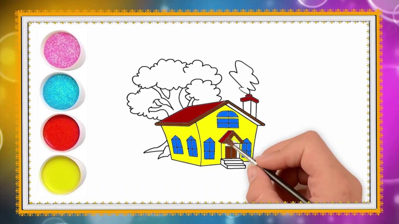 Rumah Sederhana Yang Rindang Cara Mnggambar Dan Mewarnai Yang Mudah