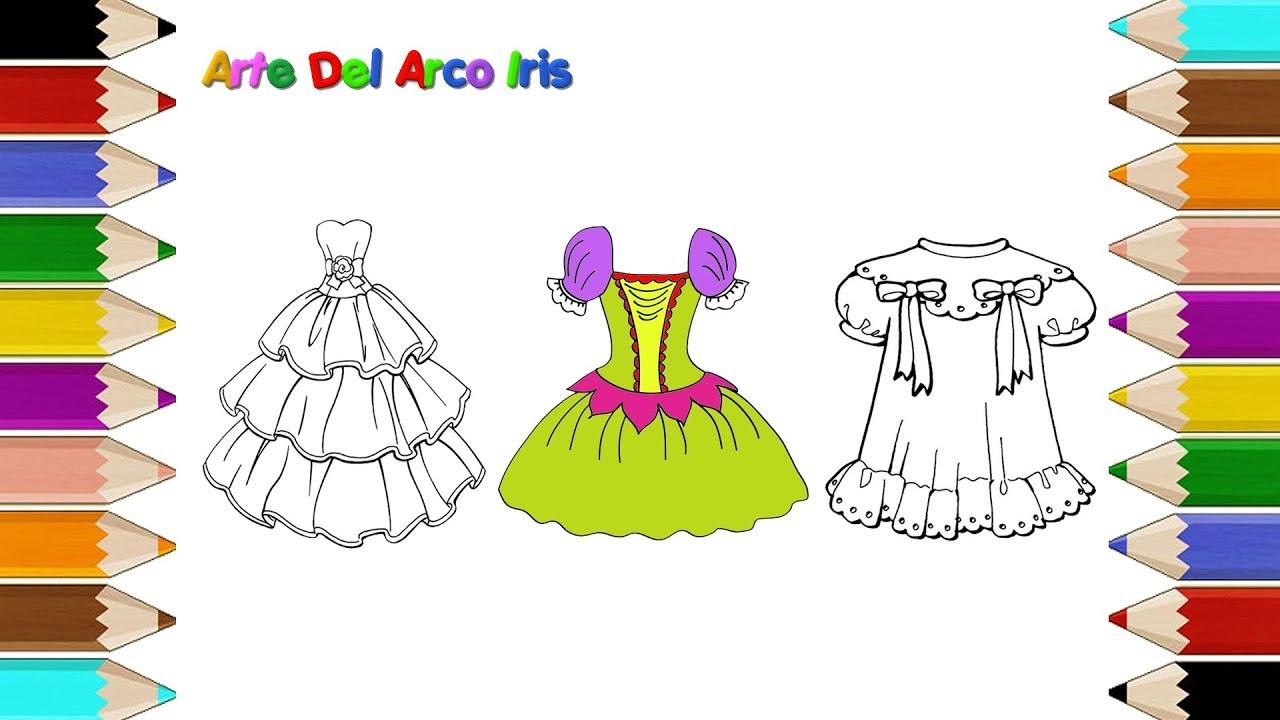 Como Dibujar Un Vestidos Para niñas | Dibujos para Colorear Vestidos ...