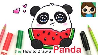 How to Draw a Panda Eating Watermelon Easy | Summer Art Series #6