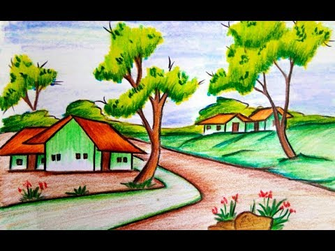 How To Draw A Village Scenery Of Beautiful Nature Step By Step Very Easy Youtube