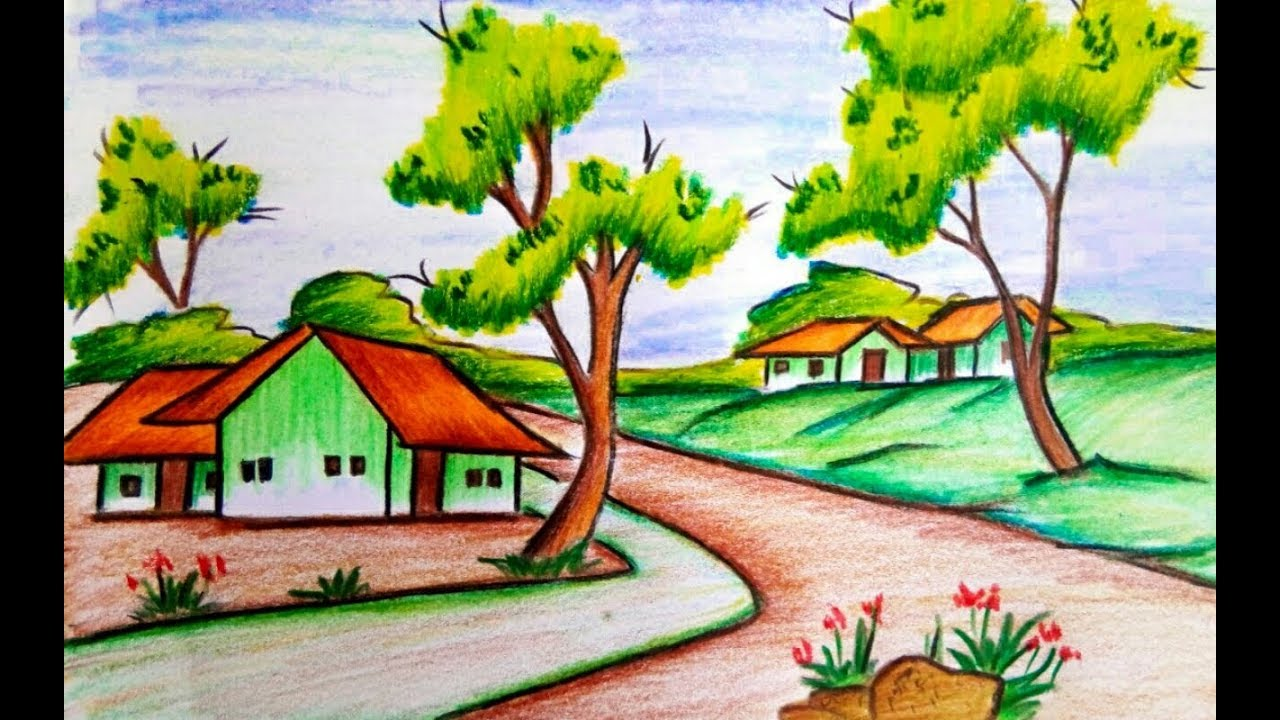 How to draw a village scenery of beautiful nature step by ...