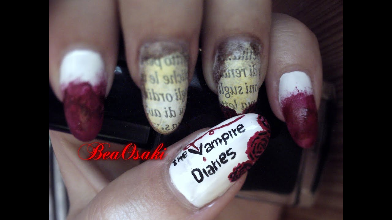 4-The Vampire Diaries inspired nail art (serie TV nails) - YouTube