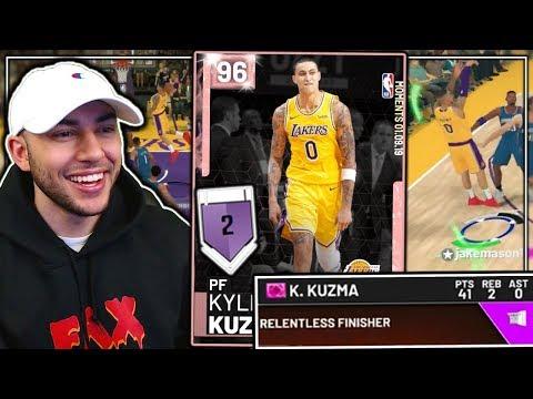 *NEW* PINK DIAMOND KYLE KUZMA GAMEPLAY! THIS CARD GETS SO MANY GREENS! NBA 2K19 MyTeam