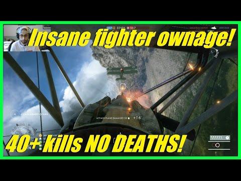 Insane fighter plane ownage!   40+ kills NO DEATHS!   Albatros DIII FIghter! - Battlefield 1